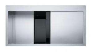 poza Chiuveta de bucatarie 1000x512mm cu picurator dreapta Franke seria Crystal Line model CLV 210 inox satinat, cristal negru