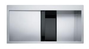 poza Chiuveta de bucatarie 1000x512mm cu picurator stanga Franke seria Crystal Line model CLV 210 inox satinat, cristal negru