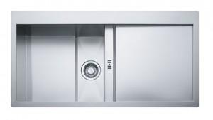 poza Chiuveta de bucatarie 1000x512mm cu picurator dreapta Franke seria Crystal Line model CLV 214 inox satinat, cristal alb