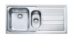poza Chiuveta de bucatarie 2 cuve 1000x500mm cu picurator dreapta Franke seria Logica Line model LLL 651 Inox Dekor, sifon inclus