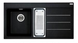 poza Chiuveta de bucatarie 1000x515mm cu picurator dreapta Franke seria Mythos Fusion model MTF 651-100 Fragranite Nero, cu accesorii