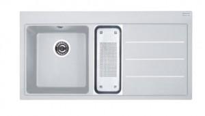 poza Chiuveta de bucatarie 1000x515mm cu picurator dreapta Franke seria Mythos Fusion model MTF 651-100 Bianco, cu accesorii