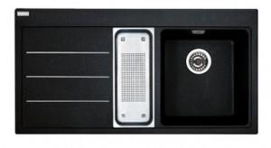 poza Chiuveta de bucatarie 1000x515mm cu picurator stanga Franke seria Mythos Fusion model MTF 651-100 Fragranite Nero, cu accesorii