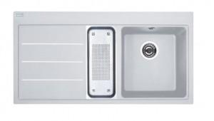 poza Chiuveta de bucatarie 1000x515mm cu picurator stanga Franke seria Mythos Fusion model MTF 651-100 Bianco, cu accesorii