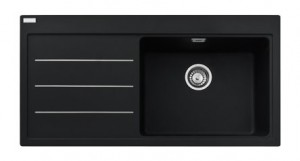 poza Chiuveta de bucatarie 1 cuva 1000x515mm cu picurator dreapta Franke seria Mythos Fusion model MTF 651-100 Fragranite Nero, cu accesorii