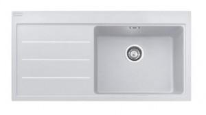 poza Chiuveta de bucatarie 1 cuva 1000x515mm cu picurator stanga Franke seria Mythos Fusion model MTF 611-100 Bianco, cu accesorii