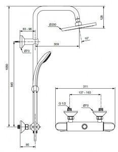 Poza Sistem de dus cu baterie termostatata Ideal Standard seria Ceratherm 25, crom