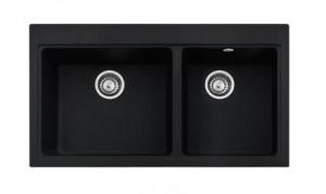 poza Chiuveta de bucatarie 2 cuve 910x515mm Franke seria Mythos Fusion model MTG 620 Nero Fragranite, cu accesorii