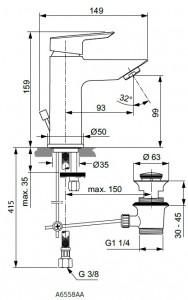 Poza Baterie monocomanda lavoar Ideal Standard gama Tesi, cu ventil click-clack (pornire la rece), cu limitator debit 5l/min