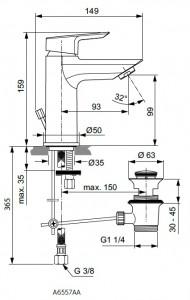 Poza Baterie monocomanda lavoar Ideal Standard gama Tesi, cu ventil click-clack, cu limitator debit 5l/min