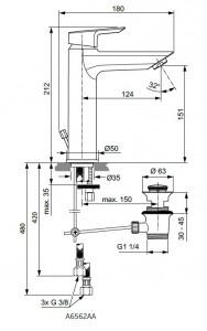 Poza Baterie monocomanda lavoar GRANDE Ideal Standard gama Tesi, cu ventil click-clack, pentru presiune scazuta ND