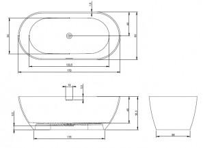 Poza Cada freestanding 170x80 cm Riho model Bilbao
