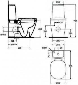 Poza Vas WC Ideal Standard fixare in pardoseala cu rezervor pe vas Cube si capac inchidere lenta gama Connect, alb O.Z.