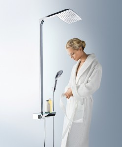 poza Set de dus Hansgrohe gama Raindance Select E 360, 1 functie Showerpipe, crom/alb
