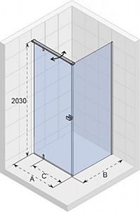 poza Cabina de dus rectangulara cu usa batanta si perete fix 100x90 cm Riho model Tione T201