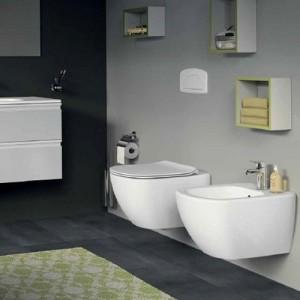 poza Pachet Vas WC suspendat Ideal Standard gama Tesi AquaBlade, alb si capac soft close