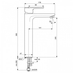 Poza Baterie de lavoar inalta Ideal Standard model Ceraplan III, fara ventil. Poza 51886
