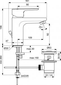 Poza Baterie de lavoar Ideal Standard Grande model Ceraplan III H90. Poza 52004