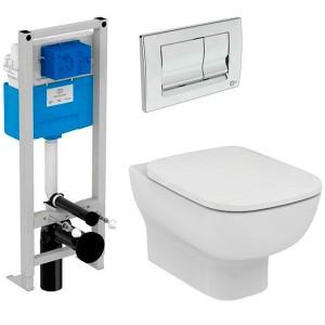 poza Set vas wc plus rezervor Prosys complet Ideal Standard seria Esedra AquaBlade cu capac inchidere lenta