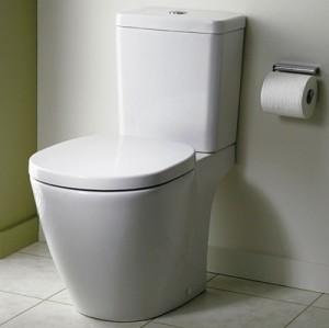 poza Vas WC Ideal Standard fixare in pardoseala cu rezervor pe vas Cube si capac inchidere lenta gama Connect, alb
