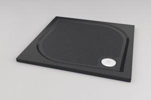 poza Cadita de dus 90x120cm rectangulara negru granit SanSwiss model Marblemate